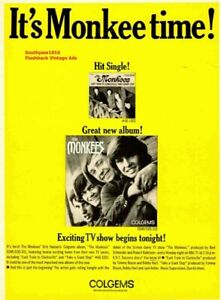 """1966 The Monkees Debut Album & TV Show Release """"It's Monkee Time"""" Promo Ad Print"""