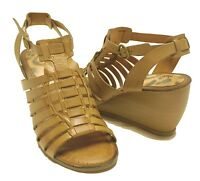 Bare Traps Tan Leather Strappy Wedge Sandals IVANIA Women's Shoes Sz 10