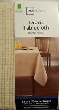 NEW! Mainstays Fabric Tablecloth 52 X 70in Rectangle (Beige)
