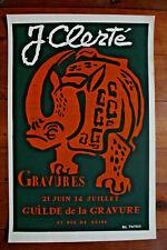 AFFICHE LITHOGRAPHIQUE JEAN CLERTÉ -GUILDE DE LA GRAVURE 66/42 CM