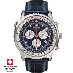 Swiss Alpine Military by Grovana 7078.9535 silver blue Leather Men's Watch NEW