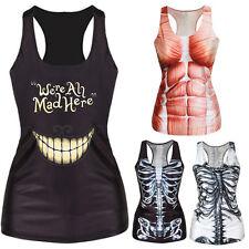 Women Summer T-shirt Punk Racerback Tank top Vest 3D Print Camisole S&FO