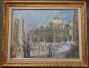 VENICE - VIEW OF SAINT MARK'S SQUARE. MIXED MEDIA PAINTING. EVE DISHER.