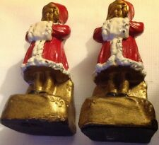 ARMOR BRONZE BOOKENDS Girls W Mufflers ELECTROFORMED ORIGINAL PAINT AS IS RARE!