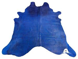 Croco Embossed Dyed Blue Cowhide Rug - (XL 7.5 x 6.5 ft )