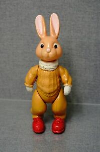 1960 Soviet USSR Russian OHK Celluloid Doll Toy Character Bunny Rabbit w/Sweater