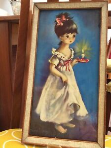 Vintage Dallas-Simpson framed print of a girl with candle