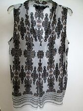 Max Edition - L- Black/beige/cream chiffon style abstract print Vneck s'less top