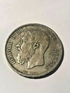 1870 Belgium 5 Francs Silver VF+ #929