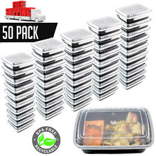 50 Meal Prep Containers 1 Compartment Food Storage Plastic Reusable Microwavable