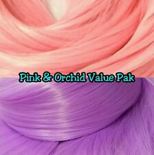 Orchid Purple & Coral Pink XL 2 Color Value Pak Nylon Doll Hair Reroot Barbie