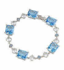 $75 Carolee Silver Tone NEWPORT NOUVEAU Crystal and Blue Stone Flex Bracelet