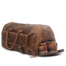 Mens Travel Duffel Gym Holdall Carryall Sports Bag Genuine Leather Brown Large