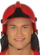Mens Ladies Red Black Fireman Firefighter Stag Do Helmet Fancy Dress Costume Hat