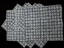 Lot of 6 pieces Vintage Fabric / Flour Feed Sacks Blue & White Geometric pattern