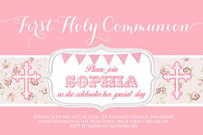 10 PERSONALISED GIRLS FIRST HOLY COMMUNION INVITATIONS - THANK YOU CARDS