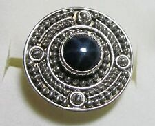 Star Sapphire Artisan Designed Ring in 925 Sterling Silver sz 9 -- 3.45cts, 6.1g