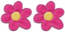 "Lot of 2 pcs 1 5/8"" x 1 5/8"" Fuchsia Yellow 6 Petal Flower Embroidery Patch"