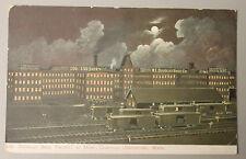1905 Douglas Shoe Factory At Night Campello (Brockton) Mass & Railroad