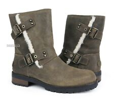UGG Niels II Dove Leather Fur Boots Womens Size 10 *NIB*