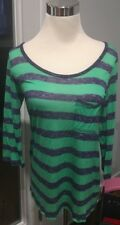 Splendid Womens Sz Small Striped 3/4 Sleeve Stretch Thin Knit Top USA Green Blue