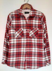 Ladies oversized Tartan Lumberjack Check Borg Fleece Lined Shirt Jacket Size M
