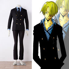 Cafiona Halloween One Piece Sanji Cosplay Costume Cool Man Suit Stripe Shirt
