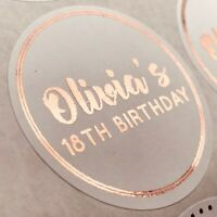 Personalised ROSE GOLD Birthday Party Sweet Bag Stickers 18TH 21ST 30TH FOILED