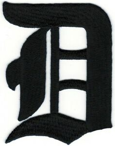 """3"""" Fancy Black Old English Alphabet Letter D Embroidered Patch"""