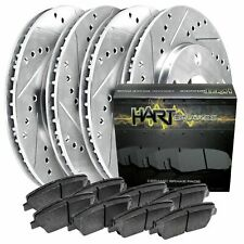 [FRONT+REAR KIT]Platinum Hart -*DRILL & SLOT* Brake Rotors  +CERAMIC Pads- 2046