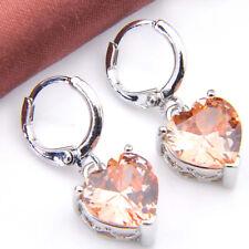 Genuine Love Heart Honey Morganite Gemstone Silver Lady Dangle Hook Earrings