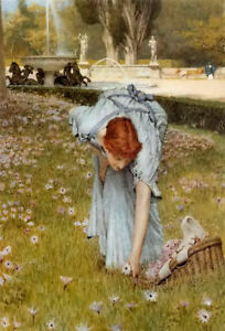 Oil painting sir lawrence alma tadema flora young beauty pick up spring flowers