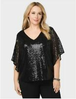Roz & Ali Flutter Sleeve All Sequin Black Top Blouse Party Size 2X NWT