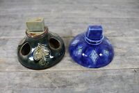 Two Antique Royal Doulton Art Nouveau Cobalt Blue & Green Ashtray Match Holder.