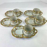 Vintage Japan Egg Shell Porcelain Moriage Flowers Snack Set 5 Plates 5 Cups