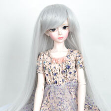"7-8"" hair 1/4 BJD Wig Mini Dollfie MSD Long Silver gray Straight Wig"