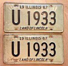 """1967 ILLINOIS LICENSE PLATE 2 PLATES MATCHING PAIR """" U 1933 """" IL 67 LAND LINCOLN"""