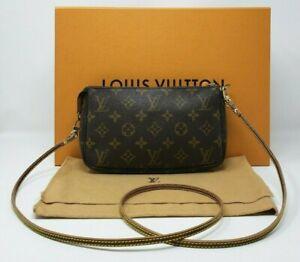 💕 Authentic Louis Vuitton MONOGRAM Pochette Accessoires w/ Crossbody Strap 💕