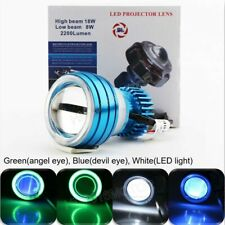 LED Hi/Lo Beam Halo Projector Headlight Motorcycle Green Angel Blue Demon Eye