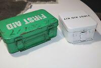 2 Vintage Metal First Aid Kit Boxes - Full