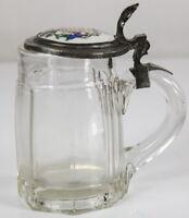 Bier Krug Glas Zinn Montierung Deckel Porzellanmalerei ~ 1900 Seidl Seidla 1/2 L