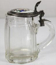 Jarra de cerveza cristal estaño montierung tapa porcelana Pintura ~ 1900 rodríguez seidla 1/2 L