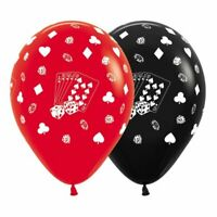 12 CASINO CARD SUITS RED & BLACK BALLOONS PARTY DECORATION LAS VEGAS POKER NIGHT