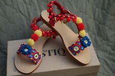 Mystique Women's Leather Multi-color Strappy Sandal Size 7 NWT