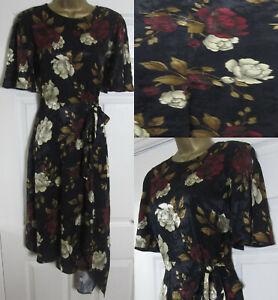 NEW F&F Ladies Floral Print Tea Dress Asymmetrical Hem Black Gold Burgundy 6-18