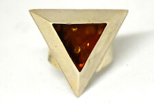 Beautiful Sterling Silver and Natural Amber Triangle Ring Size 7 Signed