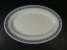 "VINTAGE SCAMMELL'S TRENTON CHINA PLATTER BLUE FLORAL BORDER 11 1/2"" x 8"""