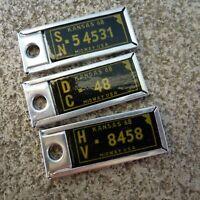Lot of 3 1968 KANSAS  DAV Tags Key-chain License Plate Vintage DISABLED VET