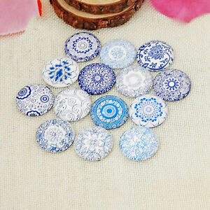 50Pcs 12mm Flatback Round Photo Image Cover Glass Dome Cabochon Cameo Jewelry