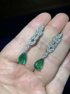 5Ct Pear Cut Green Emerald Beautiful Drop & Dangle Earrings 14K White Gold Over